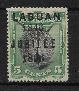 LABUAN SG86 1896 JUBILEE 5c BLACK & GREEN MTD MINT