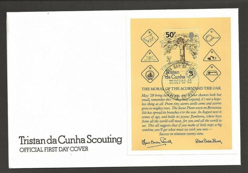 1982 Scouts Tristan da Cunha 75th anniversary SS FDC
