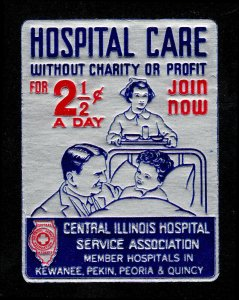POSTER STAMP HOSPITAL CARE WITHOUT CHARITY OR PROFIT FOR 2½¢ A DAY (MNH-OG)