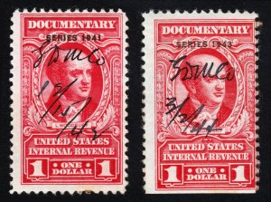 US STAMP REVENUES ⭐ LOT OF 2 ⭐ SCOTT #R323 & #R373 $1 L WOODBURY 1941/1943 USED