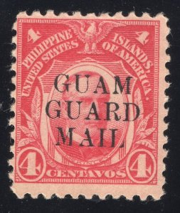 Guam# M6 - 4 Cents, Carmine - Guam Guard Mail - Mint - O.G. - N.H.