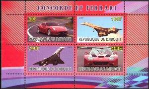 Djibouti 2009 Aviation Airplanes Concorde Cars Ferrari MNH Cinderella !