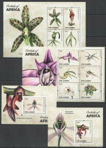 KS 2011 GAMBIA FLORA FLOWERS ORCHIDS OF AFRICA !!! 2BL+2KB FIX