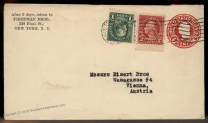 USA 1926 Upfranked Postal Stationery Austria Cover 88917
