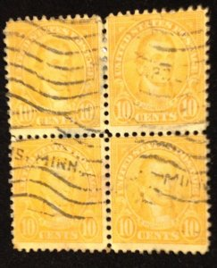US Sc 562 Used Zip Block Of Four F-VF