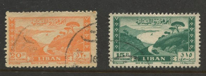 Liban - Scott C146-C147 - Air Post Issue -1949 - FU - Single 15p & 20p Stamp