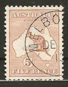 AUSTRALIA 1913-14 5d 1st wmk CTO Melbourne.................................S3903