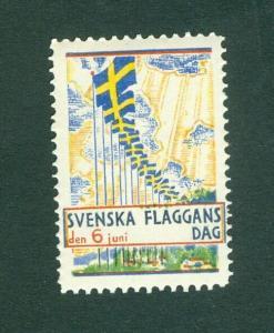 Sweden Poster Stamp Mnh.1933. National Day June 6. Swedish Flag.
