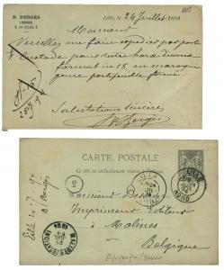 FRANCE 1894 Daguin de Lille sur entier CP 10c Sage repiqué (Librairie Bergès)