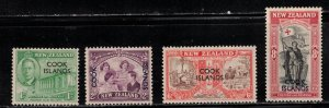 COOK ISLANDS Scott # 127-30 MH - KGVI Peace Issue NZ Stamps Overprinted