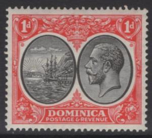 DOMINICA SG73 1933 1d BLACK & SCARLET MTD MINT