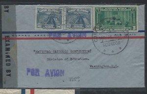 ECUADOR  COVER (P2709B) 1943 CENSOR A/M  3C+20CX2  TO USA