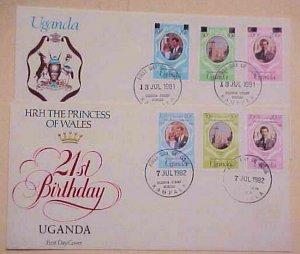 UGANDA  FDC  PRINCESS DIANAN 2 DIFF. 1981-1982 CACHET UNADDRESSED