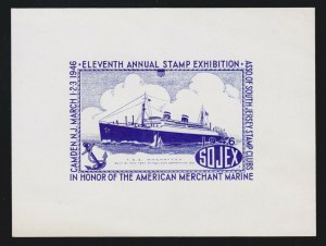 US 1946 SOJEX South Jersey Stamp Club Souvenir Sheet Honor of Merchant Marines