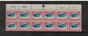USA #C3 Mint Fine - Very Fine Never Hinged Top Plate Block Of Twelve Variety