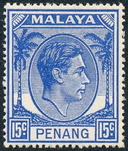 Malaya Penang 1949 15c Ultramarine SG13 MH