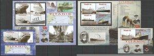 EC198-199 2012 TONGA NIUAFO'OU SHIPS TITANIC MICHEL 55 EURO 2KB+2BL MNH
