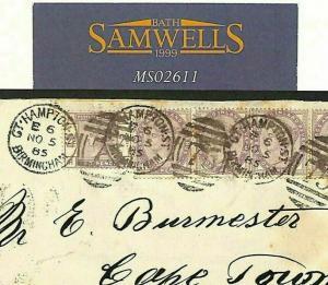 GB AFRICA MAIL SG.189 Cover 1885 2d Lilac *Birmingham Hampton St* Duplex MS2611