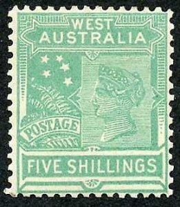 Western Australia SG148 5/- Emerald Green Wmk Crown over A (Upright) M/M