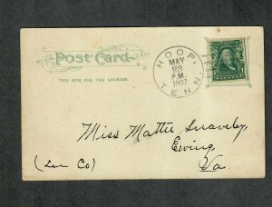 Tennessee Cancel Post Card Hoop Doane Type 2/3 DPO 3 1907