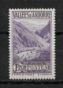 French Andorra 1933, Scott # 54, 1.75fr Key Value ,VF MNH**OG (FR-1),Wavy Gum !!