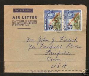 Malta Sc 240 on 1954 Air Letter to US VF