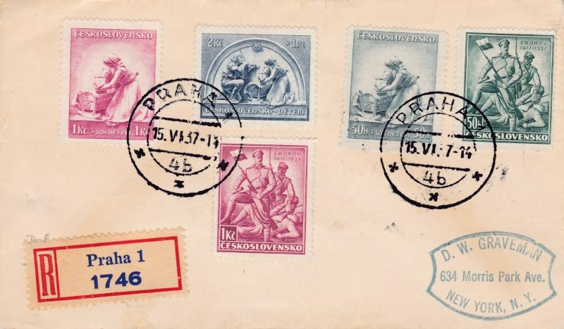 Czechoslovakia 1937 Czech Soldiers (2)+ Midwife (3) Seni-Postals Registered FDC