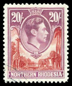 Northern Rhodesia 1938 KGVI 20s carmine-red & rose-purple VFU. SG 45. Sc 45.