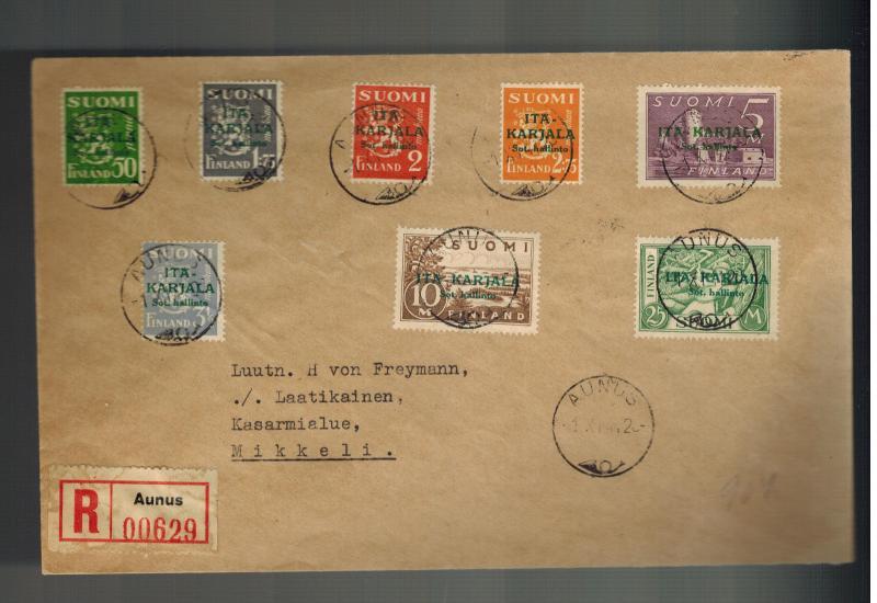 1942 Aunus Karelia Finland Stamps Overprinted Complete Set # N8-N15 Cover