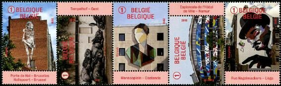 HERRICKSTAMP NEW ISSUES BELGIUM Sc.# 2852a Street Art Strip of 5 Different