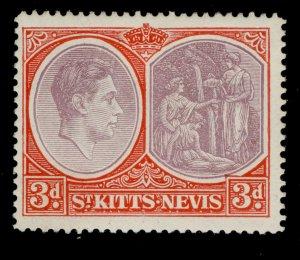 ST KITTS-NEVIS GVI SG73c, 3d reddish purple & scarlet, M MINT. PERF 14