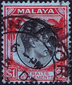 MALAYA STRAITS SETTLEMENTS 1938 KGVI $1 Black & Red/Blue SG290 Used