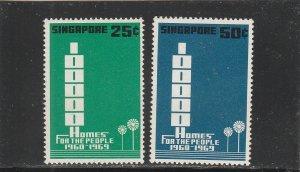 Singapore  Scott#  99-100  MNH  (1969 Building Program)
