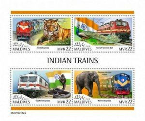Maldives - 2019 Indian Trains & Animals - 4 Stamp Sheet - MLD190112a