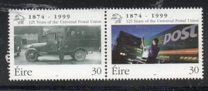 Ireland Sc 1182-3 1999 125th Anniversary UPU  stamp set  mint NH