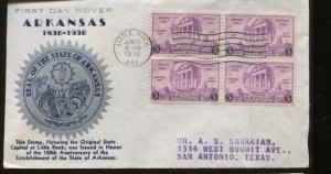 1936 FDC #782-17 W/ SCARCE Cachet / Established State Of Arkansas - S8490