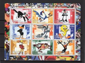 Tajikistan 2001 Bugs Bunny Merry Christmas Cartoons Sheetlet (9) Perforated MNH