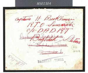 IRAQ MOTORBIKE MAIL Cover WW1 Indian FPO Forwarded c/o BAGHDAD TIMES 1918 MS2304