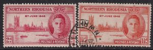 Northern Rhodesia 1946 KGV1 Set of Victory used SG 46 - 47  ( G1263 )