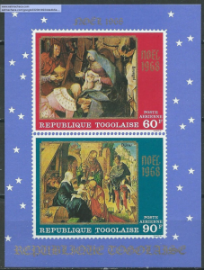Togo #C101a YTBF34 MNH S/S CV$6 Christmas 1968 - The Adoration of the Kings/M...