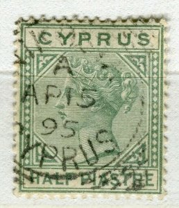 CYPRUS; 1882 early classic QV Crown CA issue fine used 1/2Pi. value