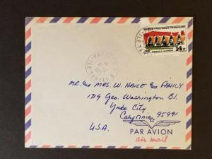 1971 Papeete Tahiti French Colony to Yuba City California USA Air Mail Cover