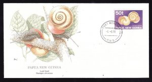 Flora & Fauna of the World #66b-stamp on FDC-Shells-Land Snail-Marine Life-Papua