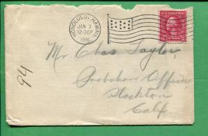 Hawaii Cover 1916 Honolulu to Stockton CA Flag Cancel - S8440