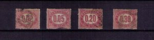 ITALY Sc #O1-O4 Official Stamps (4 EA) LAKE Used (1875):