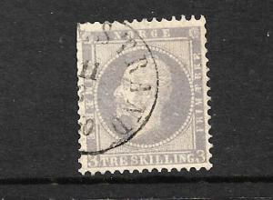 NORWAY  1856-60  3sk LILAC  FU   Sc 3  Sg 6