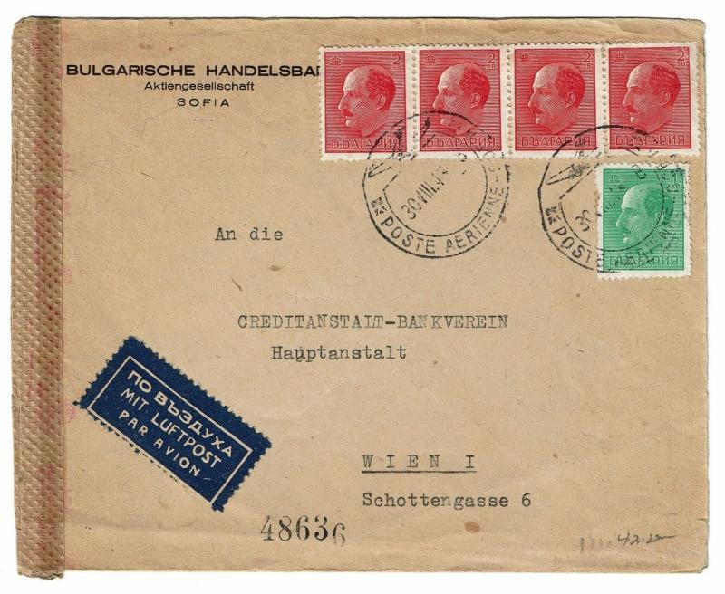 Bulgaria 1943 Censored Airmail Cover to Austria - Lot 100917