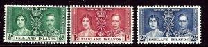 Falkland Is 81-83 MNH 1937 KGVI Coronation    (ap3720)