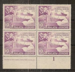 Johore 1949 10c UPU MNH Block Plate 1