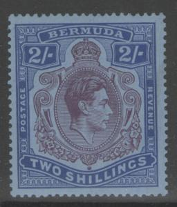 BERMUDA SG116a 1940 2/= DEEP REDDISH PURPLE & ULTRAMARINE/GREY-BLUE MTD MINT